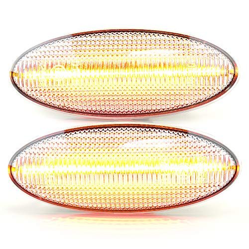 LIGHTDELUX Repuesto para 2 intermitentes laterales LED, sin mensaje de error con marca E4 White Vision V-170411