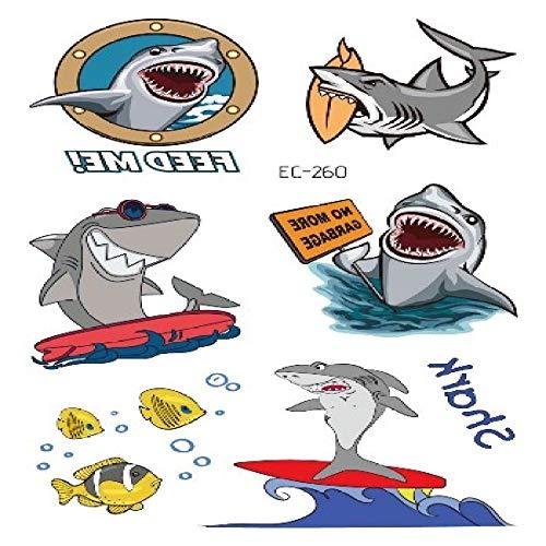 adgkitb 5pcs Requin Pirate Tatouage pour Enfant de Bande dessinée Faux Enfants tatuajes temporales Art imperméable Autocollant de Tatouage temporaire EC-260 12 x 7,5 cm