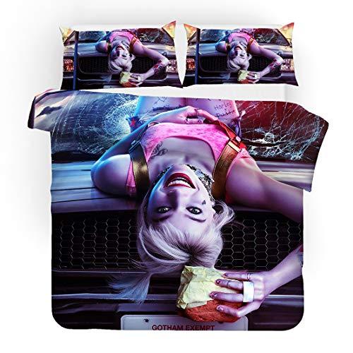 MODRYER 3 Piezas Funda nórdica Establece Harley Quinn pelotón del Suicidio de impresión en 3D de Cama Kit con Cremallera Fundas para niños pequeños para niños,02-UK/King 230cmx220cm