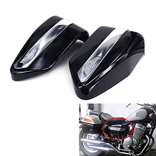 JFG RACING Black Motorcycle Battery Cover Guard Protector Two Sides Fairing One Pair For For CMX250 1996-2005 CMX250C 2003-2005 CA250 1995-2005