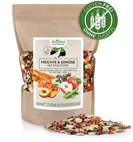AniForte Barf Zusatz für Hunde Früchte und Gemüse mit Kräutern 1kg - Naturprodukt, Barf Ergänzungsfutter, glutenfrei, Flocken ohne künstliche Zusätze, 100% Natur Ergänzung barfen, Futter