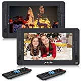 PUMPKIN Double Lecteur DVD Portable Voiture Pour Enfants 2 ecrans d'appuie-tête 10,1 Pouce Autonomie de 5 Heures supporte Région Libre USB SD MMC avec Etui de Montage (Deux Lecteurs DVD)