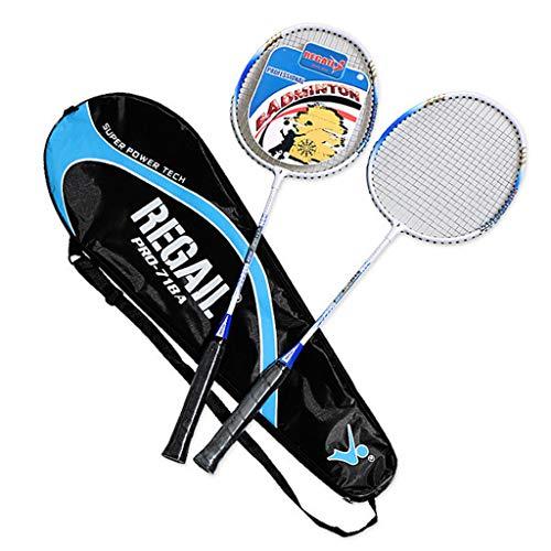 Badminton Schläger Set Badmintonschläger Leichtgewicht Badminton Schläger Federballschläger Federballschläger für Training, Sport und Unterhaltung mit Schlägertasche (Blau)
