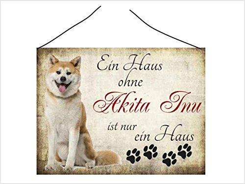 Creativ Deluxe Türschild Vintage Schild Kratzfest Dekoschild Hundedeko Wandschild Nostalgie Holzschild Geschenk - Akita Inu