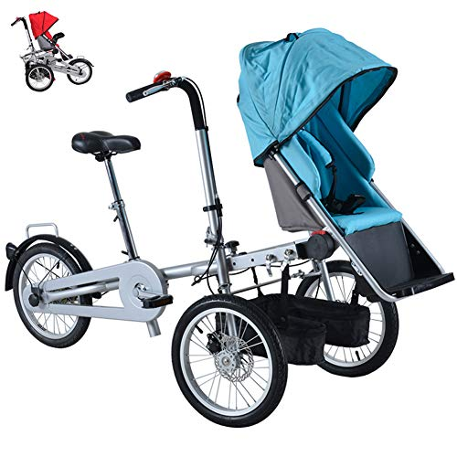TTFGG Adult Bike Folding Tricycle Baby Stroller Can Sit and Ride,Parent-Child Car Mother-Child Car Baby Stroller Bicycle,Blue