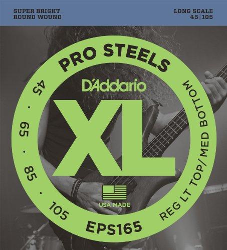 D'Addario EPS165 - Juego de cuerdas para bajo eléctrico de acero, 045' - 105'