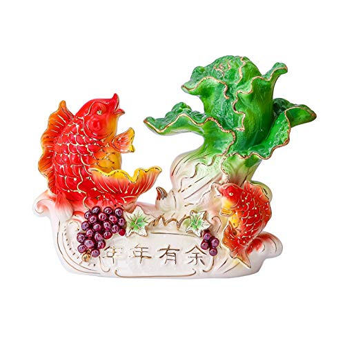 zlw-shop Ceramic Simple Modern Handmade Art Home Decoration Goldfish Feng Shui Statue Living Room Bedroom Feng Shui Fortune Fish Daily Gift
