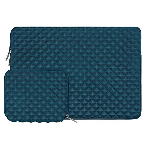 MOSISO Laptop Sleeve Compatible with 13-13.3 Inch MacBook Pro/Air, Notebook Diamond Foam Neoprene Bag Cover with Small Case, Deep Teal