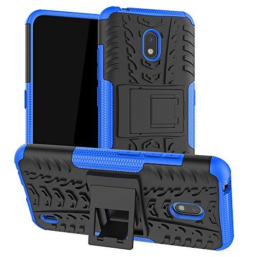 LiuShan Kompatibel mit Nokia 2.2 Hülle, Dual Layer Hybrid Handyhülle Drop Resistance Handys Schutz Hülle mit Ständer für Nokia 2.2 (2019) Smartphone(mit 4in1 Geschenk verpackt),Blau