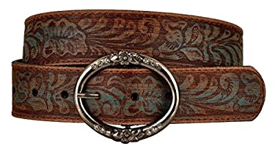 Distress Embossed Brown and Teal Leather Belt with Rhinestone Ring Buckle (S)