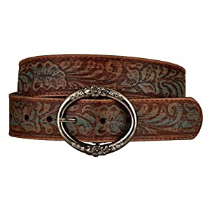 Distressed and Embossed Brown Teal Leather Belt 6