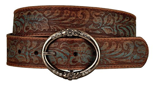 Distressed and Embossed Brown Teal Leather Belt 1
