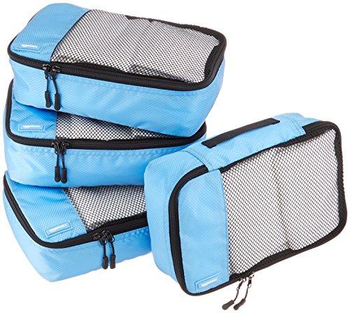 Amazon Basics - Bolsas de equipaje pequeñas (4 unidades), Azul (Cielo)