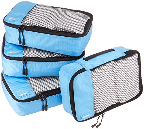 AmazonBasics - Bolsas de equipaje pequeñas (4 unidades), Cielo Azul