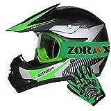 Leopard LEO-X19 Casco de Motocross para Niños Verde M (51-52cm) y Zorax Guantes...
