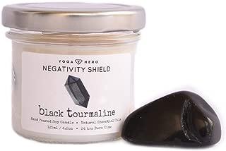 Yoga Hero Crystal candle, 100% natural soy wax, organic essential oils, large crystal inside, amethyst, black tourmaline, rose quartz, crystal quartz, citrine (Negativity Shield, Small)