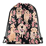 Golden Retrievers Dog With Flower Print Backpack Drawstring Bags For Sport Gym Travel Yoga Camping
