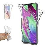 REY - Funda Carcasa Gel Transparente Doble 360º para Samsung Galaxy A40, Ultra Fina 0,33mm, Silicona TPU de Alta Resistencia y Flexibilidad