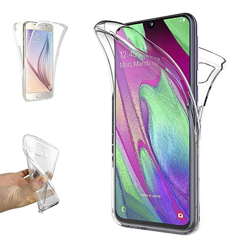 REY - Funda Carcasa Gel Transparente Doble 360º para Samsung Galaxy A40, Ultra...