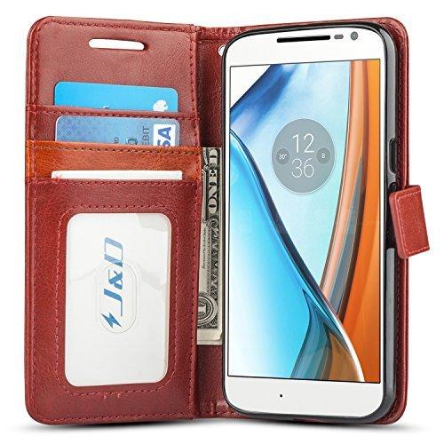 Moto G4/G4 Plus Funda, J&D [Protección de Cartera] [Soporte Plegable] Funda Pesada Resistentes Billetera para Motorola Moto G4, Moto G4 Plus