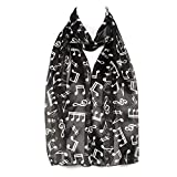 Musical Notes Black & White Chiffon Satin Ladies Womens Scarf Shawl Wrap