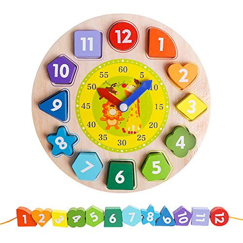 Wooden Shape Color Sorting Clock- Teaching Time Number Blocks Clock Shape Patterns Sorting and Animal Puzzle Montessori Early Learning Educational Toy Gift for 1 2 3 Year Old Toddler Baby Kids