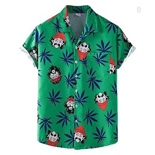 Casuales Camisas Hombre Verano Holgado Hombre Camiseta Bolsillo Estampado Manga Corta Playa Shirt Botón Placket Camisa Wicking Transpirable Hombre Deportiva Camisa XH70 XL