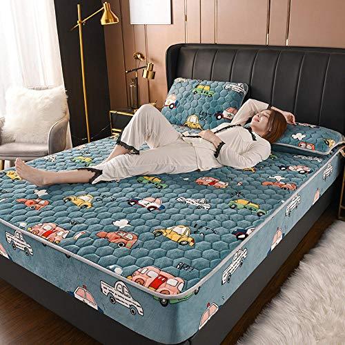 LCFCYY Sábana Bajera Ajustable,Sábanas Gruesas de vellón Coralino, Funda de Almohada cálida para colchón de Dormitorio para Cama Individual Doble King J 120x200cm (3pcs)