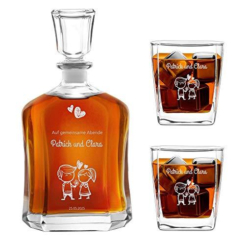 Murrano Whiskey Karaffe + 2er Whiskygläser Set mit Gravur - 700ml Whisky Dekanter - Geschenk zur Hochzeit für Paar - Gemeinsame Abende