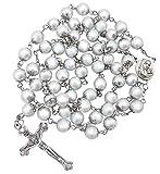 Nazareth Store Rosario de perlas blancas collar católico Medalla de Suelo Santo, Cruz cristiana Tierra Santa Regalos religiosos Rosarios para mujeres y hombres
