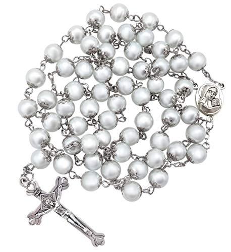Nazareth Store Rosenkranz mit weißen Perlen, katholische Halskette, Heiliger Boden, Medaille, Kreuz, christliches Heiliges Land, religiöse Geschenke, Rosenkränze für Damen und Herren