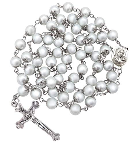 Nazareth Store Rosario de perlas blancas, collar católico, medalla de suelo sagrado, cruz cristiana, tierra santa, regalos religiosos, rosarios para mujeres y hombres