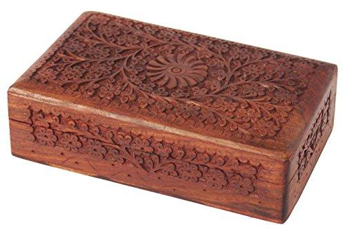 Organizador de la caja de almacenamiento del recuerdo de la joyería de madera decorativa de WhopperIndia con la mano intrincadamente tallada diseño floral y el interior del terciopelo