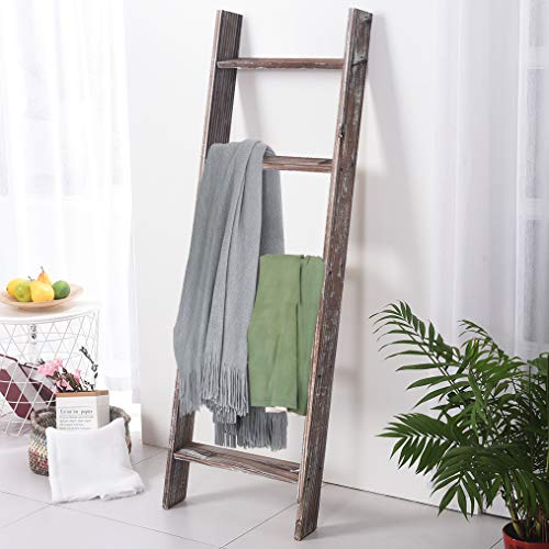 RHF 54' Extra Thick Blanket Ladder,Rustic Wood Ladder, Decorative Heave Duty Ladder for Blanket, Farmhouse Blanket Ladder, Storage Ladder Shelf, Assembly Required, 4.5-Feet (Rustic Brown, 4.5 Ft)