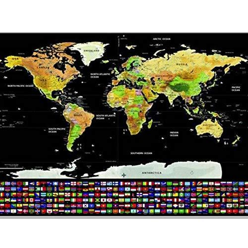CROSYO 1 STÜCKE Deluxe löschen Black World Map Kratzer für Weltkarte Personalisierte Reise Kratzer für Kartenraum Dekoration Wandaufkleber (Farbe : 83x60 Black)