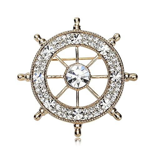 Cristal Marine Style Broches pour Hommes Bateau Gouvernail Broche Badge Pins pour Hommes Bijoux Argenté Chemise Col Costume Pin Broche Homme Cadeaux