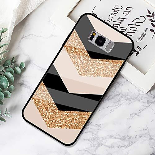 Ysimee Marmor Hülle kompatibel mit Samsung Galaxy S8 Hülle - Kratzfeste 9H Anti-Gelb glattes Glas Rückseite & TPU Silikon Rahmen und weichem Bumper - Stoßfeste HandyHülle Glas Hülle, Marble -11