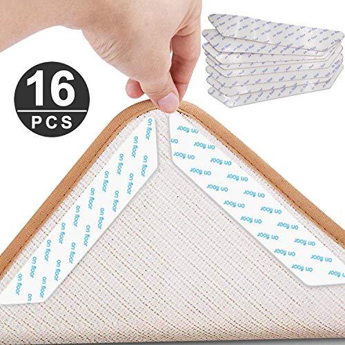 WeZest Teppich-Greifer, 16 Stück, Anti-Curling Teppich-Stopper, waschbar, erneuerbarer Teppich Aufkleber mit starkem Aufkleber für Hartholzböden, Teppiche, Matten