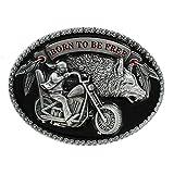 eeddoo® Gürtelschnalle - Born to be free - mit Wolf - Biker Buckle (für Wechselgürtel für Damen und Herren | USA Belt Frauen Männer Oldschool Metall Western Trucker Harley MC Outlaw Chapter Easy Rider