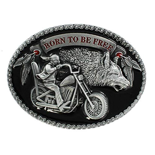 eeddoo® Gürtelschnalle - Born to be free - mit Wolf - Biker Buckle (für Wechselgürtel für Damen und Herren | USA Belt Frauen Männer Oldschool Metall Western Trucker Harley MC Outlaw Chapter Easy Rider