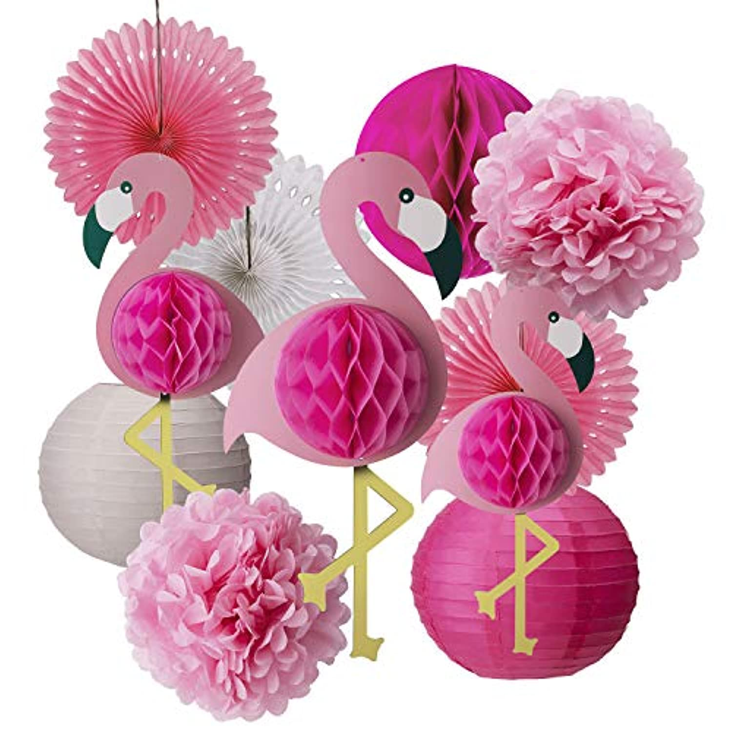 AIEX Tropical Pink Paper Flamingo Party Kit Honeycomb Balls Decorations Tissue Paper Pom Poms Flowers Paper Fans for Hawaiian Summer Beach Luau Party Supplies(11 PCS)