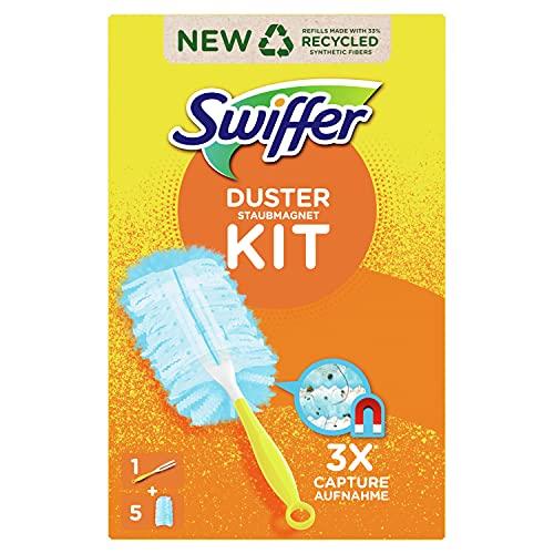 Swiffer Staubmagnet Starterset 1 Griff + 15 Tücher, nimmt 3x mehr Staub & Haare auf und schließen diese ein im Vgl. zu herkömmlichen Staubwischmethoden