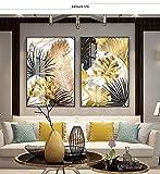 Geiqianjiumai Lámina de Oro Planta Imagen decoración del hogar Lienzo nórdico Mural Arte Pared mármol patrón Fondo Arte Cartel e impresión Sala de Estar Pintura sin Marco 40X50cm
