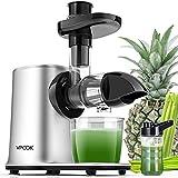 VPCOK Estrattore di Succo a Freddo 11 in 1 Estrattore Succo Silenzioso con 2 Velocità e Funzione Inversa Pre-Pulizia Senza BPA,PFOA con Ricettario e Bottiglia per Erba di Grano Sedano Frutta Succhi