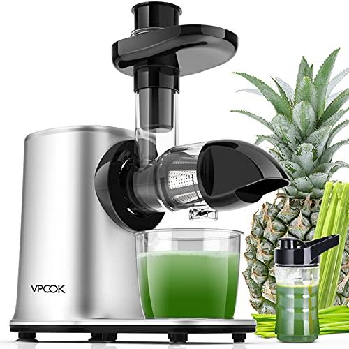 VPCOK Licuadora Prensado en Frio, Licuadora Frutas Verduras con 3 Modos, Extractor de zumos con Función Inversa, Fácil de Limpiar, con Receta, Botella y Cepillo.