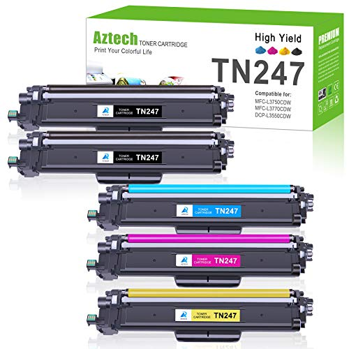 Aztech Kompatibel für Brother TN-243CMYK Toner Patronen Ersatz TN247 TN-247BK TN243 für Brother MFC-L3750CDW MFC-L3770CDW HL-L3210CW HL-L3230CDW MFC-L3710CW DCP-L3550CDW MFC-L3730CDN HL-L3270CDW Toner