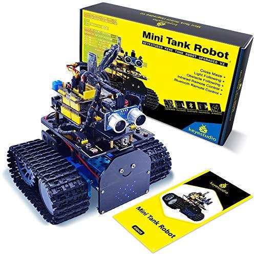 KEYESTUDIO Robot Coche Kit Compatible con Arduino IDE con, Módulo de Seguimiento de Línea, Sensor Ultrasónico, Módulo IR, Kit Robótico Coche Educativo Stem para UN0 R3 Kit