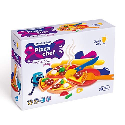 GenioKids Pizza 8 Stück/ 400g mit 7 Zubehör Dough Knete Set für Kinder