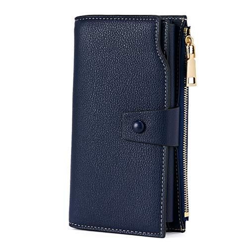 WOZEAH Women s RFID Blocking Large Capacity Luxury Wax PU Leather Clutch Wallet Card Holder Organizer Ladies Purse (2-Navy blue)