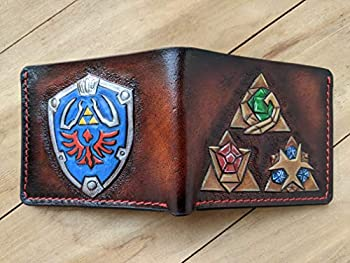 Men s 3D Genuine Leather Wallet Hand-Carved Hand-Painted Leather Carving Custom wallet Personalized wallet Hyrule Shield and Holy Relics